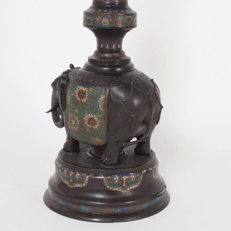 antique japanese cast bronze champlev floor lamp for sale at 1stdibs. Black Bedroom Furniture Sets. Home Design Ideas