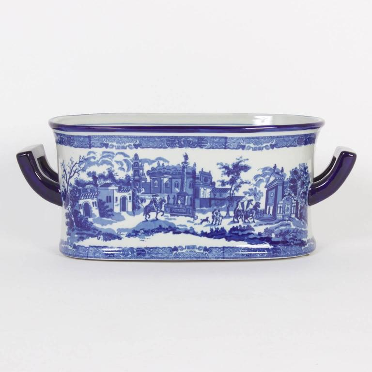 Blue And White Porcelain Staffordshire Style Oblong