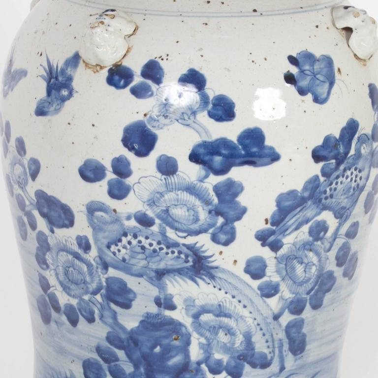 Pair of Chinese Export Style Blue and White Lidded Jars For Sale 1