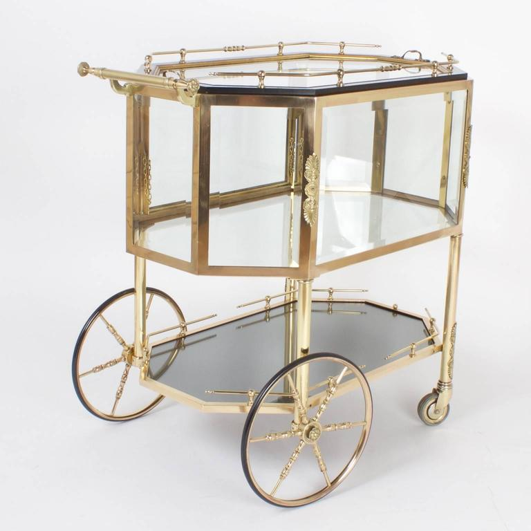 Chic Octagonal Brass Dessert Cart Or Drinks Trolley For