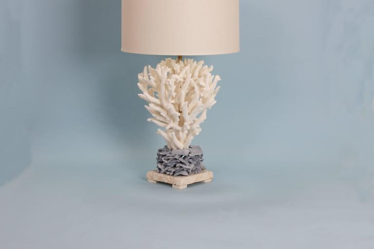 Chic Staghorn And Blue Coral Table Lamp Custom Designed And Crafted By F.  S. Henemader From Authentic