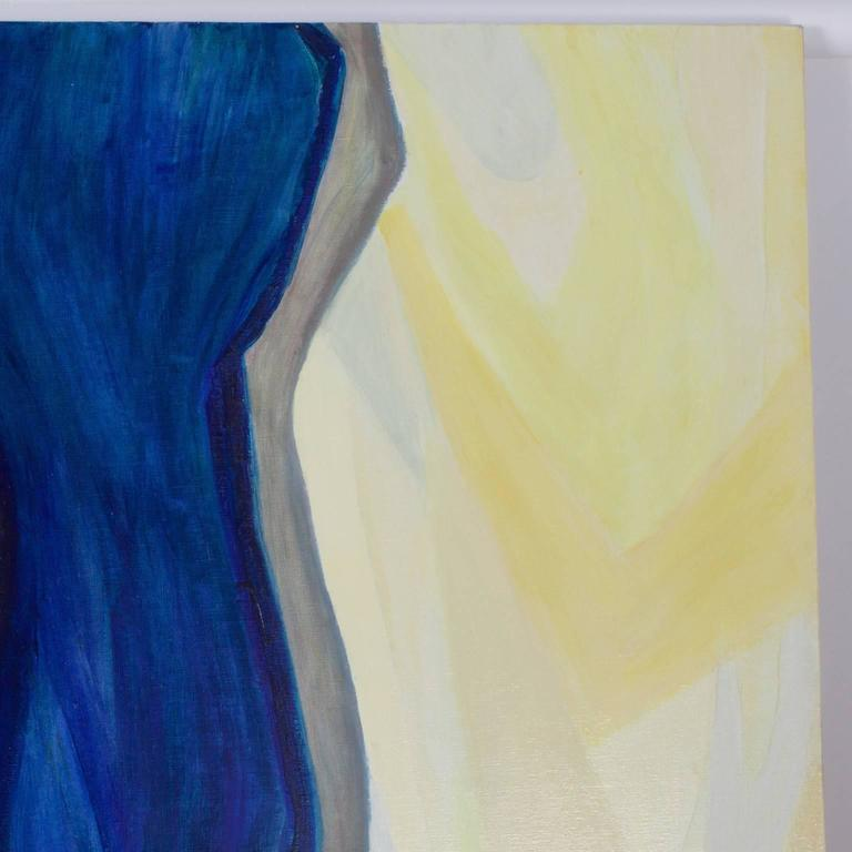 Large abstract painting that explores the relationship between warm and cool colors in an exhilarating and decidedly feminine way. Signed on the edge of the canvas and titled Torn and Most Whole.