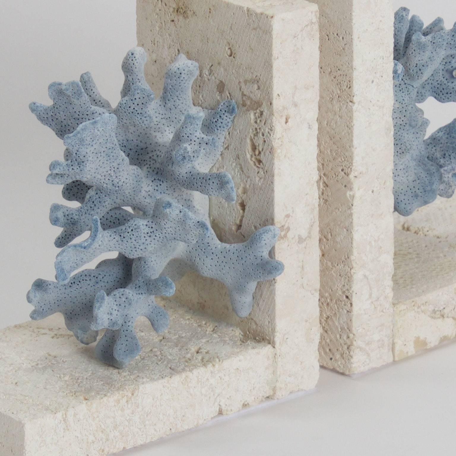 Authentic Blue Coral On Coquina Stone Bookends At 1stdibs