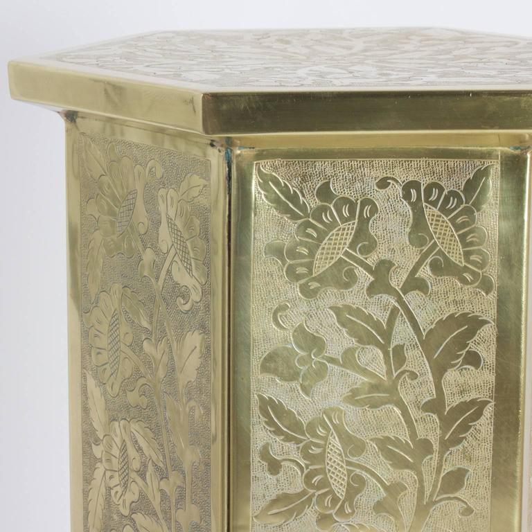 20th Century Anglo Indian or Moorish Pair of Brass Pedestals For Sale