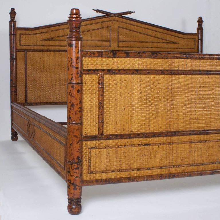 Mid Century Modern Super King Size Rattan Bed For Sale