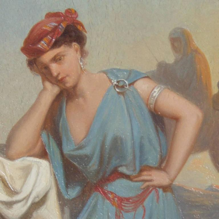 Romantic Illuminating 19th Century Oil on Board Orientalist Painting For Sale