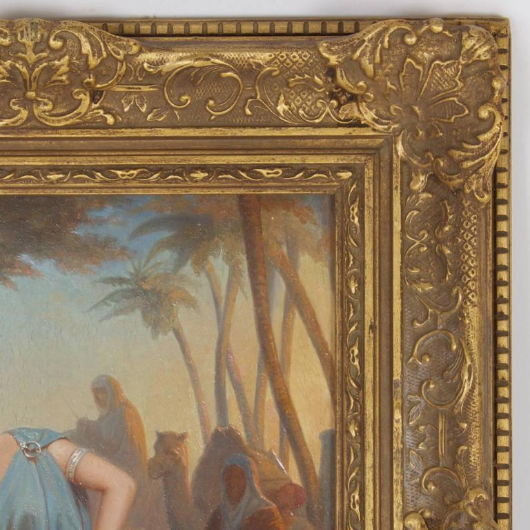 French Illuminating 19th Century Oil on Board Orientalist Painting For Sale