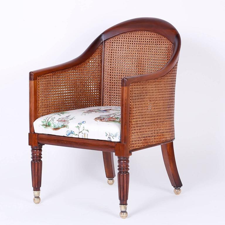 Regency British Colonial Pair of Antique Rosewood Tub Chairs For Sale - British Colonial Pair Of Antique Rosewood Tub Chairs At 1stdibs