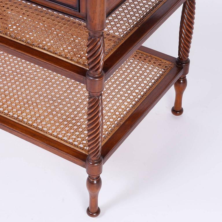 British Colonial Style Two Tiered Side Table Or Console For Sale 2