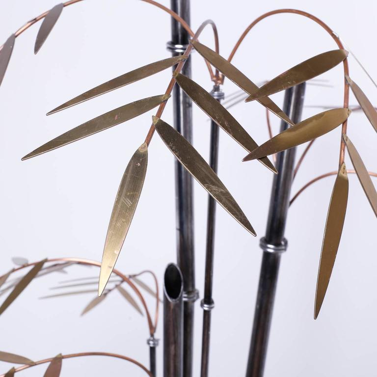 20th Century Mid-Century Brass and Copper Faux Bamboo Sculpture or Light Fixture For Sale
