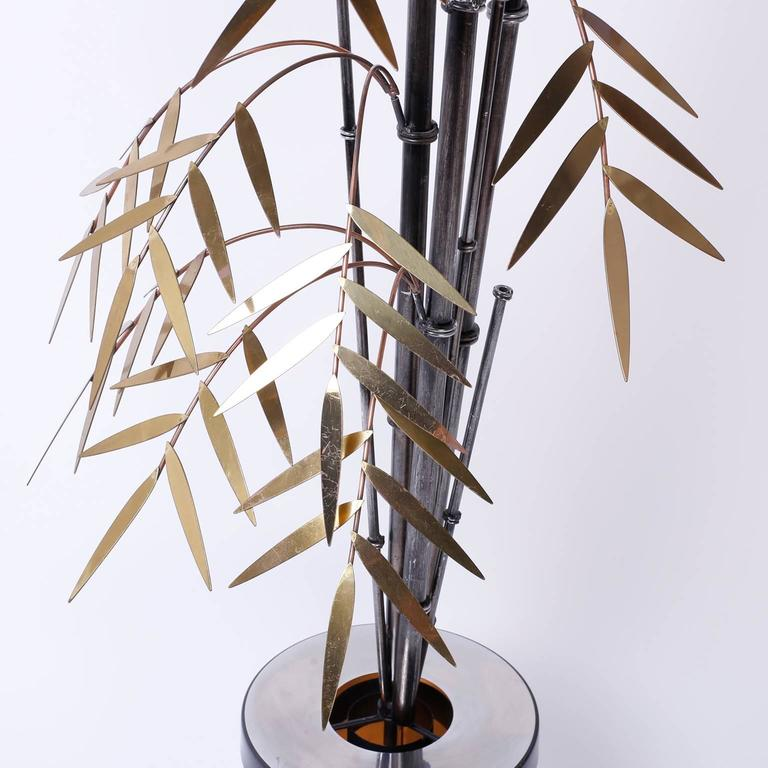 Mid-Century Brass and Copper Faux Bamboo Sculpture or Light Fixture In Excellent Condition For Sale In Palm Beach, FL