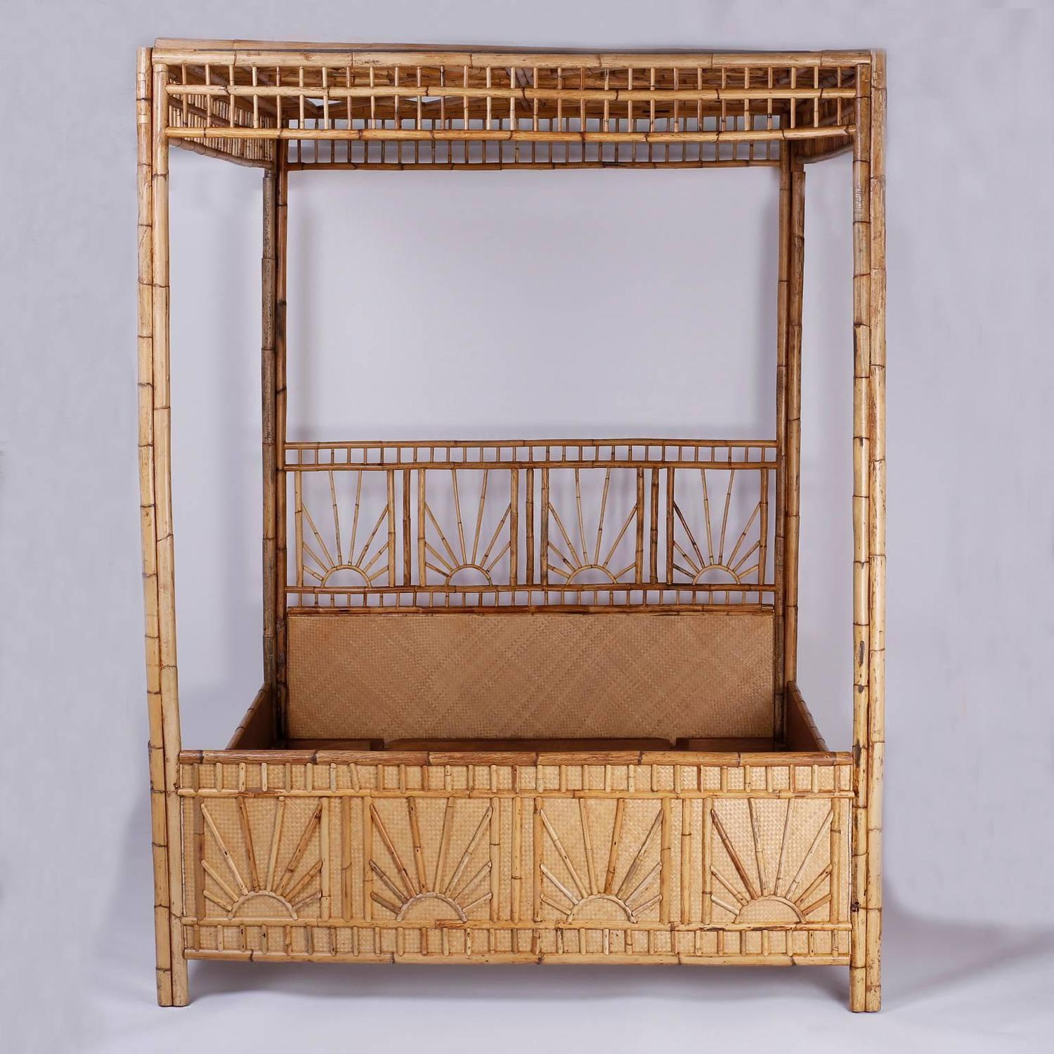 Mid Century Queen Size Bamboo and Grasscloth Canopy Bed at 1stdibs