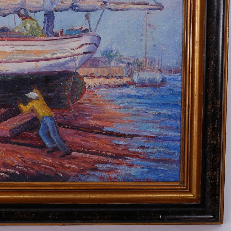 Vintage Impressionist Oil Painting Of A Harbor Scene For