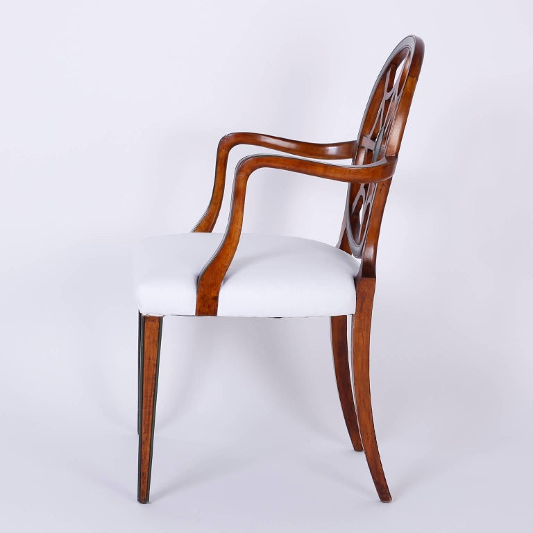 Adam Style Set of 12 Mahogany Spider Back Dining Chairs For Sale