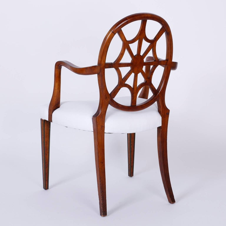 English Set of 12 Mahogany Spider Back Dining Chairs For Sale