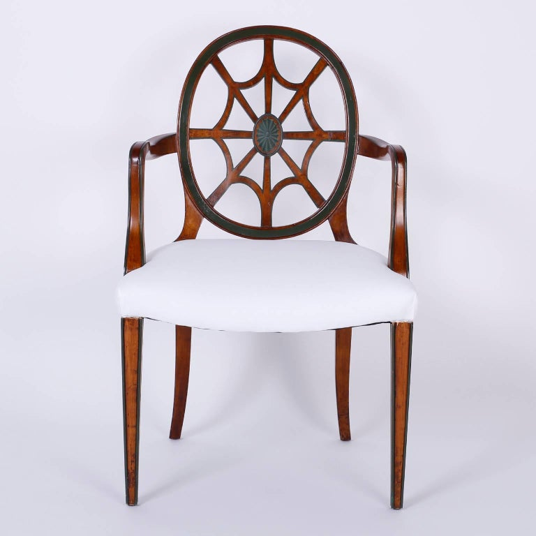 Set of 12 Mahogany Spider Back Dining Chairs In Excellent Condition For Sale In Palm Beach, FL