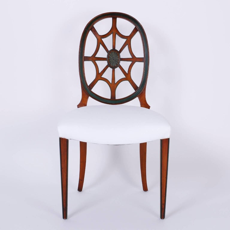 Set of 12 Mahogany Spider Back Dining Chairs For Sale at ...