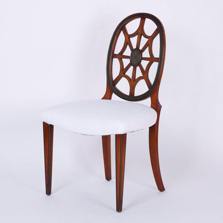 Set of 12 Mahogany Spider Back Dining Chairs For Sale 1