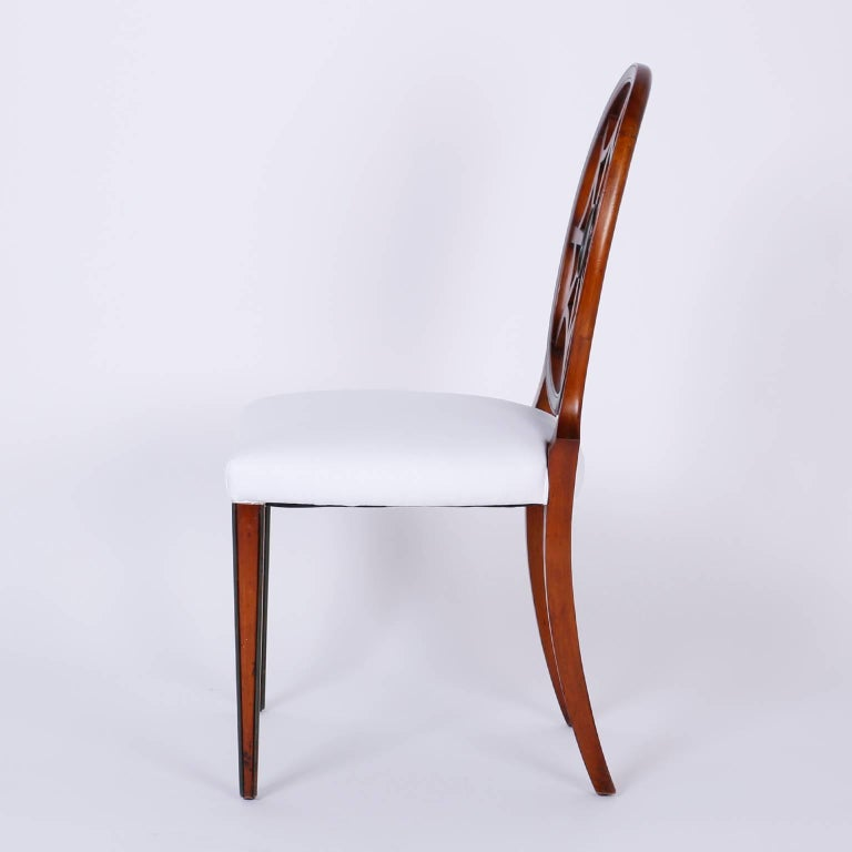 Set of 12 Mahogany Spider Back Dining Chairs For Sale 2