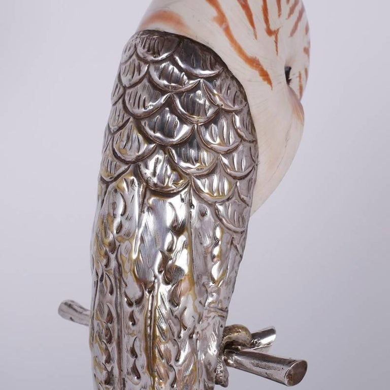 Metal Two Mid-Century Nautllus Shell Parrot Sculptures For Sale