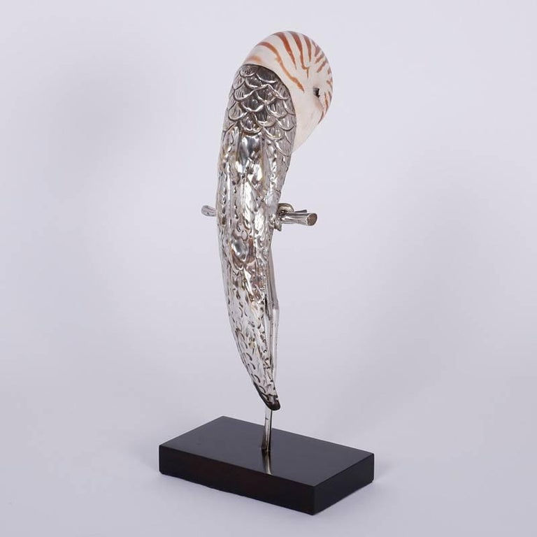 Two Mid-Century Nautllus Shell Parrot Sculptures For Sale 1