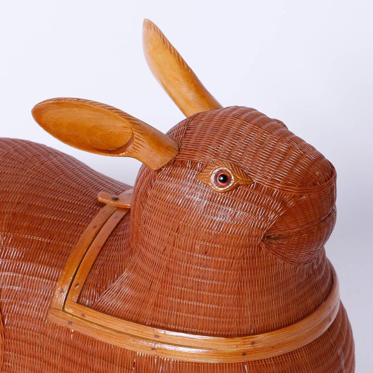 Folk Art Mid-Century Wicker and Wood Rabbit Sculpture or Box For Sale