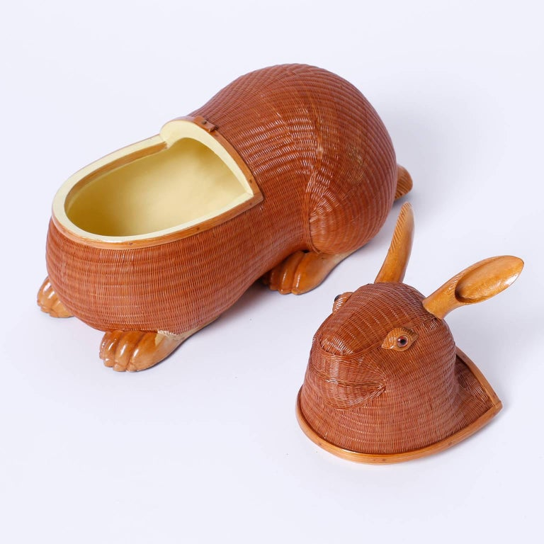 Chinese Mid-Century Wicker and Wood Rabbit Sculpture or Box For Sale