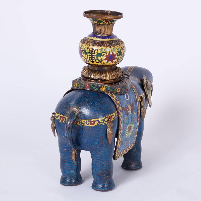 Chinese Pair of Vintage Cloisonné Elephant Sculptures or Planters For Sale