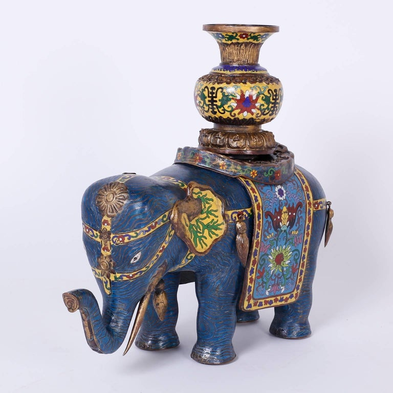 Pair of Vintage Cloisonné Elephant Sculptures or Planters In Excellent Condition For Sale In Palm Beach, FL