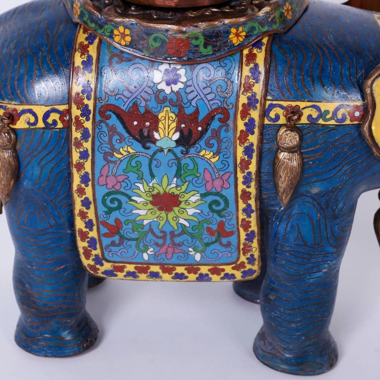 Pair of Vintage Cloisonné Elephant Sculptures or Planters For Sale 3