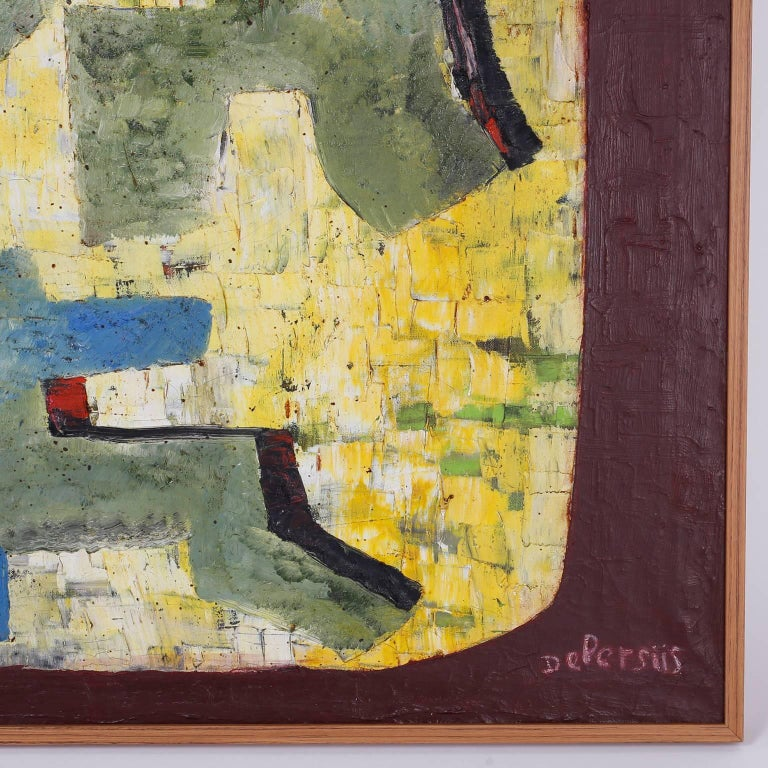 Mid-Century Modern Mid-Century Oil on Canvas Abstract Painting For Sale