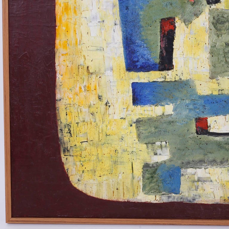 American Mid-Century Oil on Canvas Abstract Painting For Sale