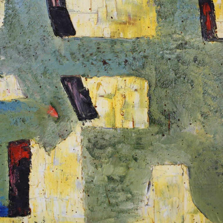 Mid-Century Oil on Canvas Abstract Painting In Excellent Condition For Sale In Palm Beach, FL