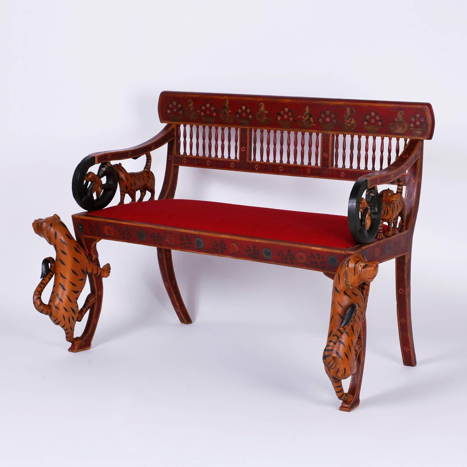Rare Indian Carved Three Piece Salon Suite With A Bench And Two Chairs For  Sale At 1stdibs