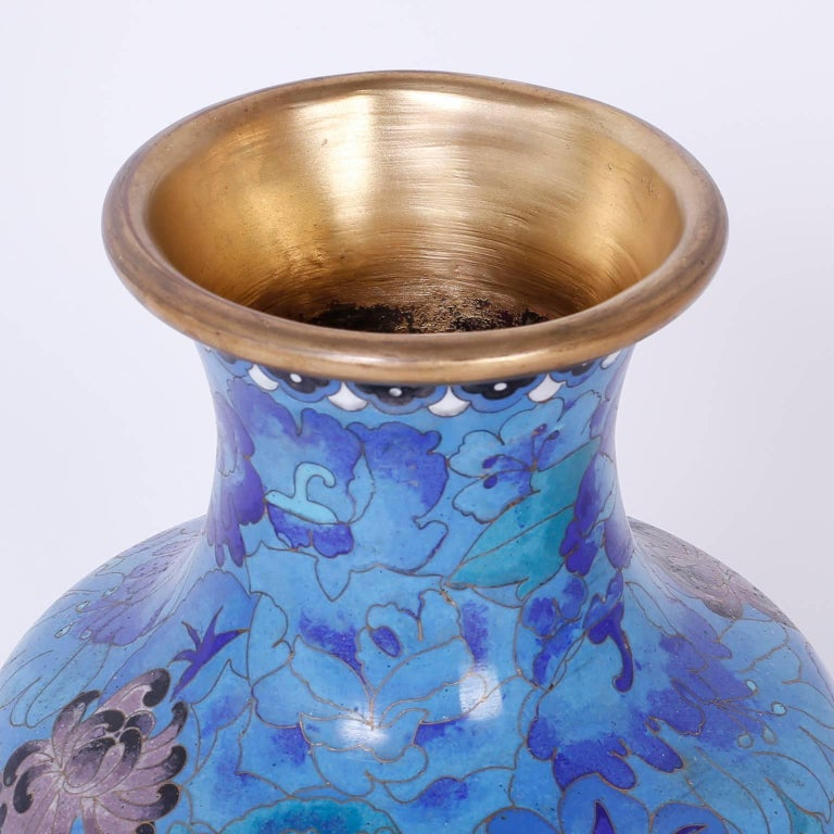 Chinese Pair of Midcentury Cloisonné Vases For Sale