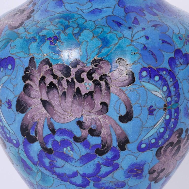 20th Century Pair of Midcentury Cloisonné Vases For Sale