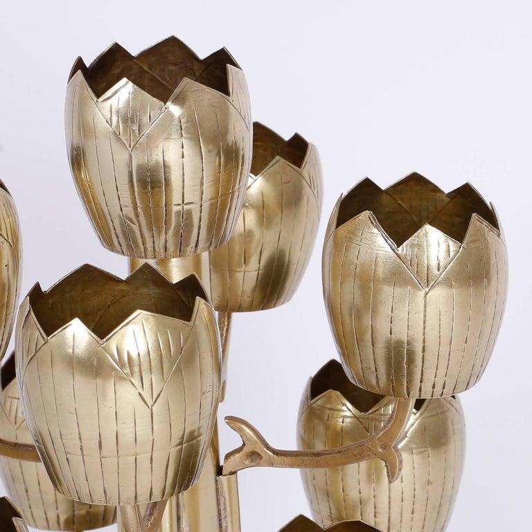 Hong Kong Midcentury Brass Tulip or Lotus Candleholder For Sale