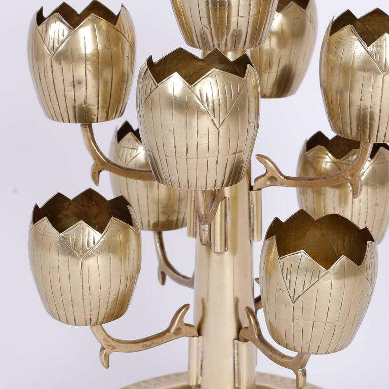 Midcentury Brass Tulip or Lotus Candleholder In Excellent Condition For Sale In Palm Beach, FL