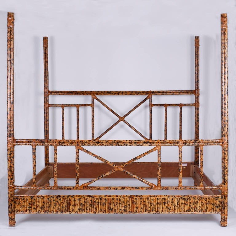 British Colonial Four Poster King Size Bed In Faux Bamboo