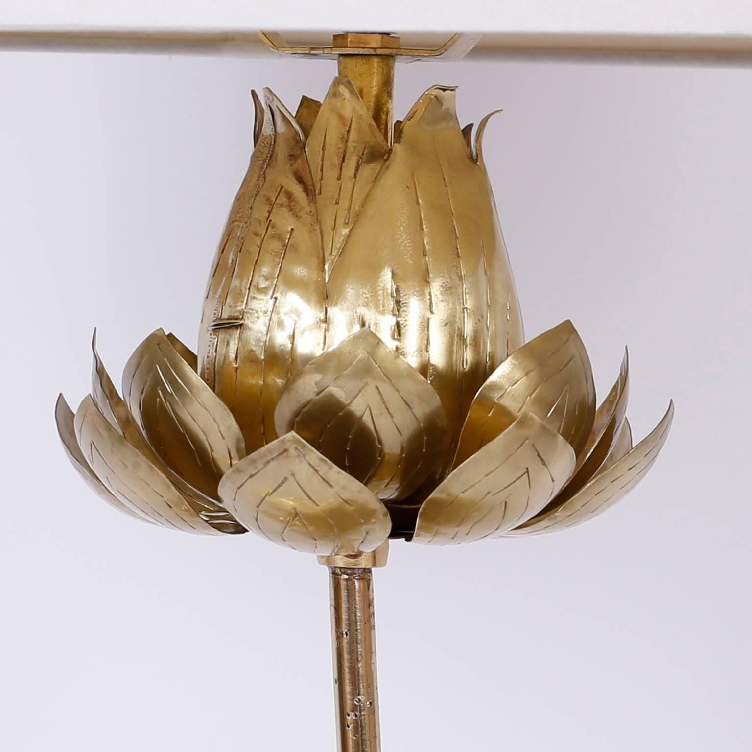 Tropical brass lotus flower table lamp for sale at 1stdibs izmirmasajfo Choice Image