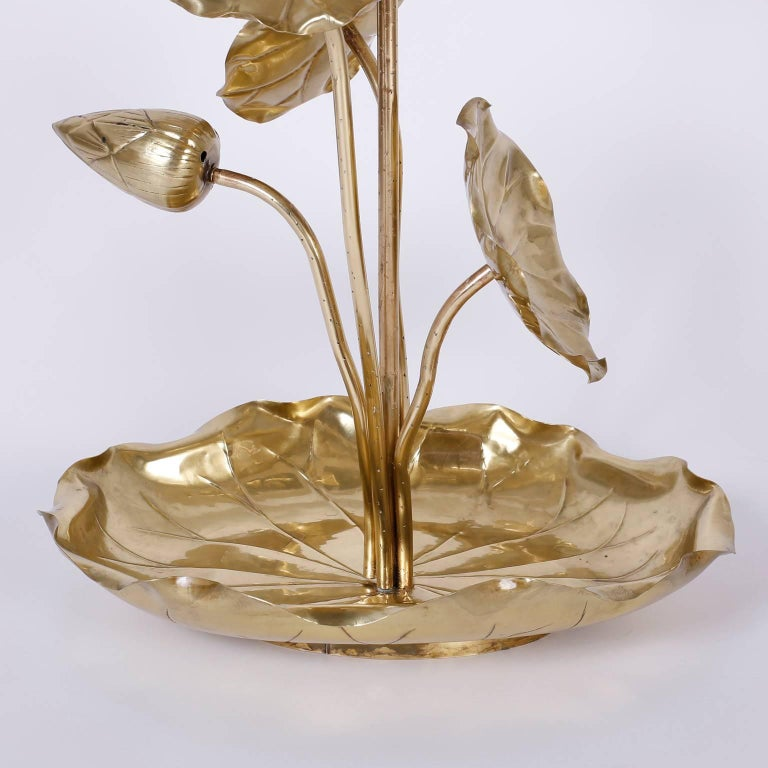 Hong Kong Tropical Brass Lotus Flower Table Lamp For Sale