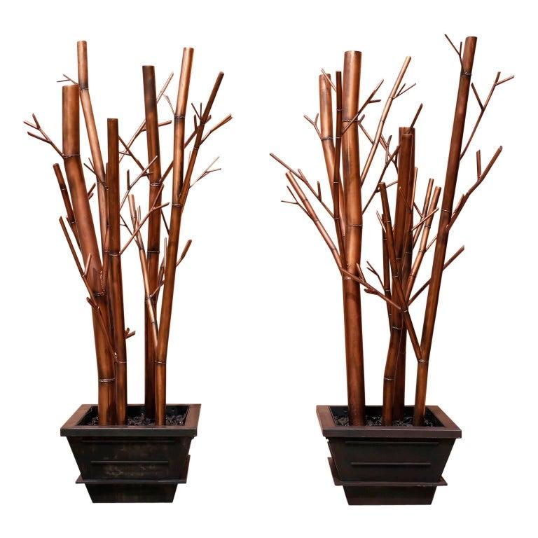 Impressive Huge Pair of Asian Modern Stylized Bamboo Studio Sculptures