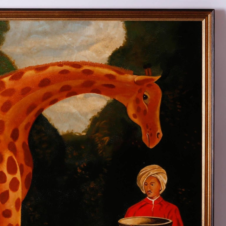 American Oil Painting on Canvas of a Giraffe by Reginald Baxter For Sale