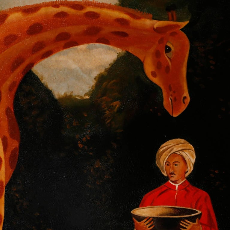 Oil Painting on Canvas of a Giraffe by Reginald Baxter For Sale 1
