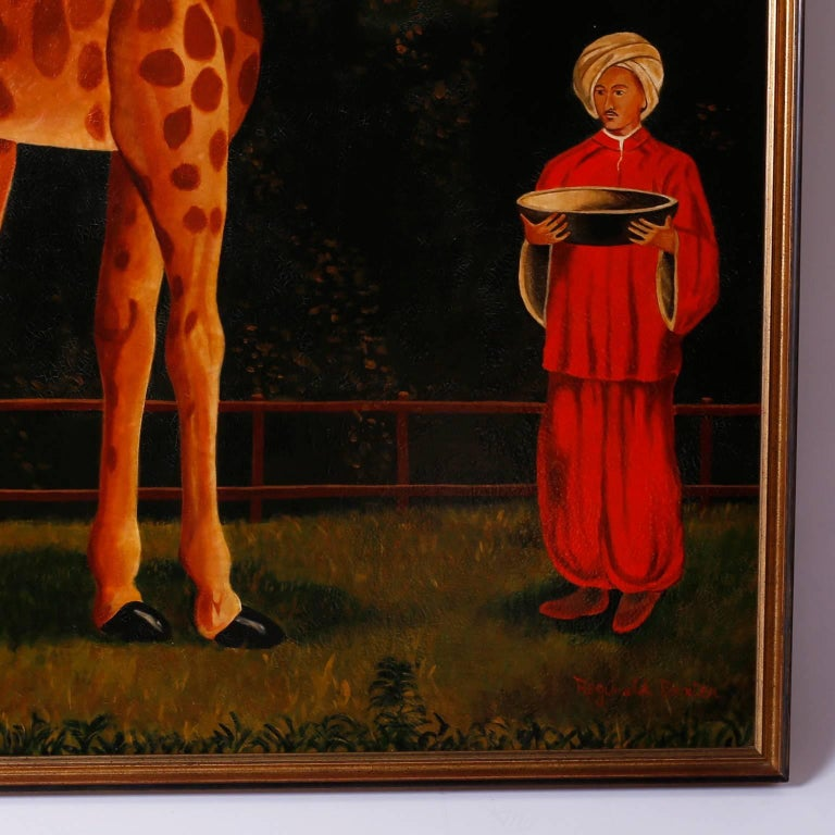 Large and amusing oil painting on canvas of a giraffe and caretaker in an outdoor wooded scene. With a tongue and cheek nod to Victorian parlor paintings, this decorative piece has a contrived orientalist yet folk painting quality with an aged
