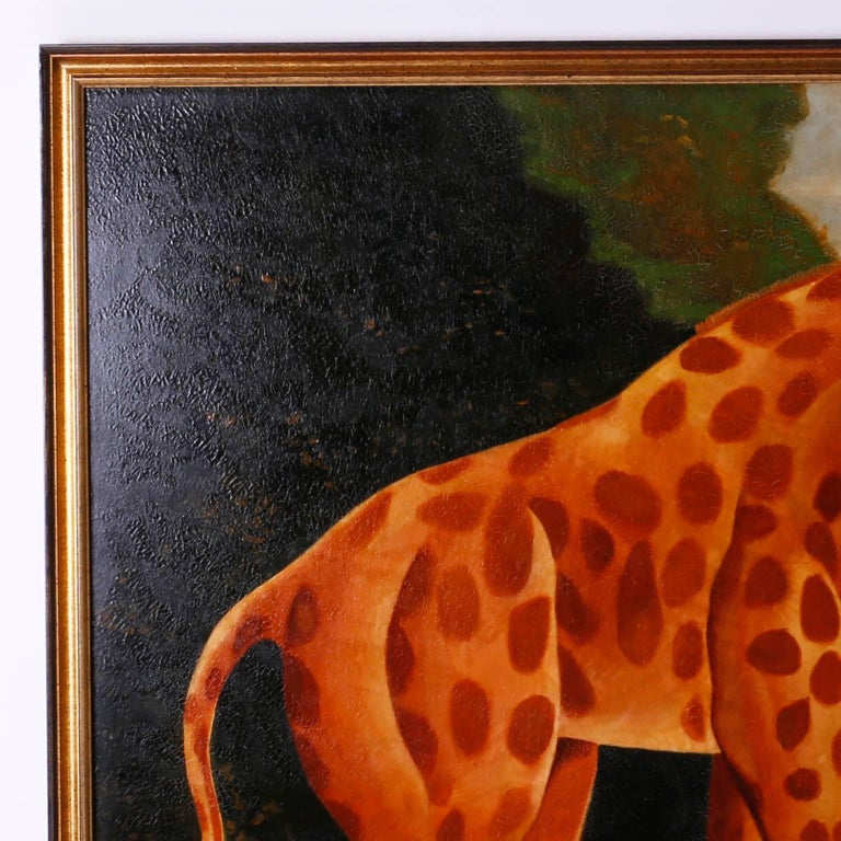 Folk Art Oil Painting on Canvas of a Giraffe by Reginald Baxter For Sale