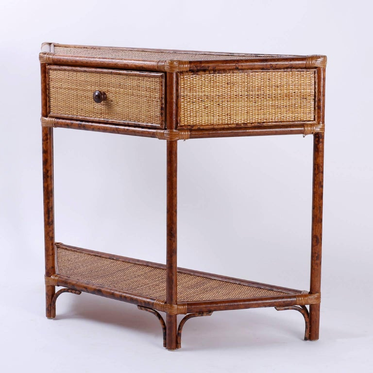 Small midcentury one drawer grasscloth console table at for Small console table with drawer