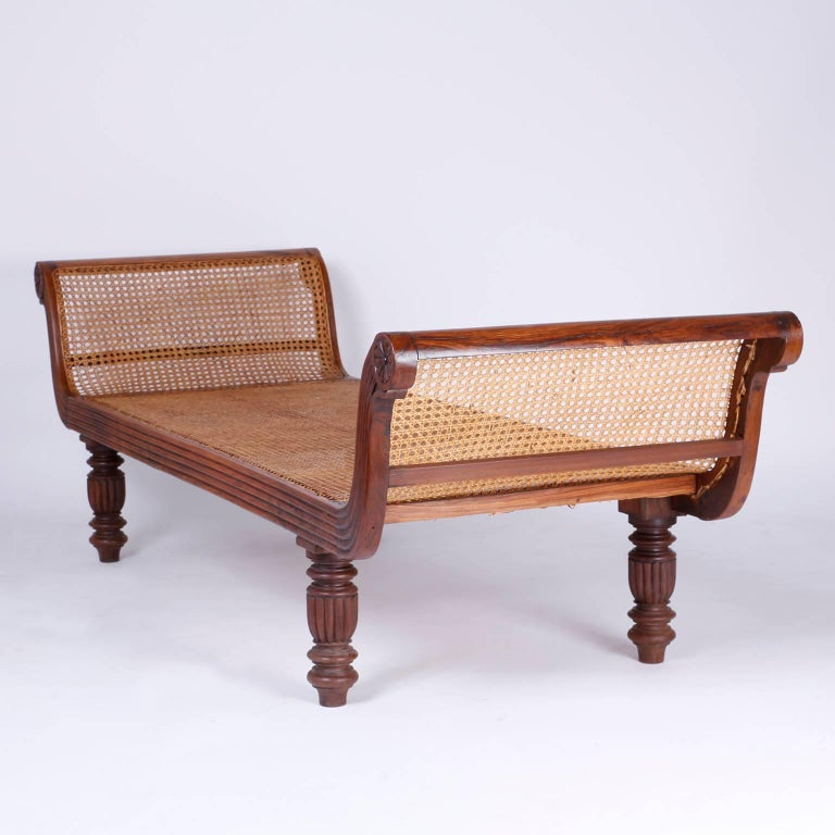 Antique British Colonial Exotic Hard Wood And Caned Day