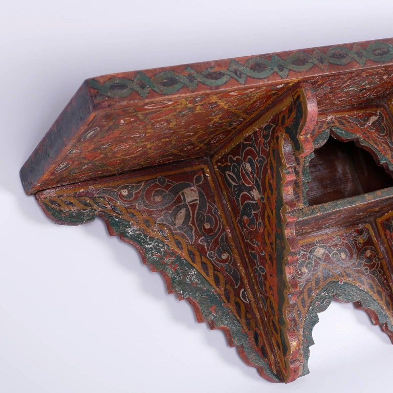 Painted Moroccan Wall Shelf For Sale at 1stdibs