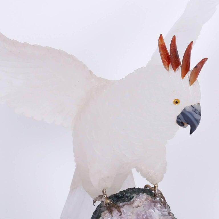 Folk Art Carved Stone Cockatoo Sculpture For Sale